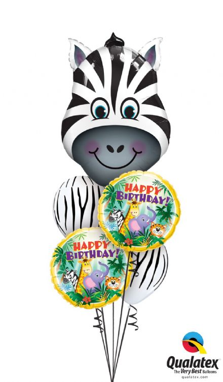 Zany Zebra Jungle Foil & Latex Bouquet